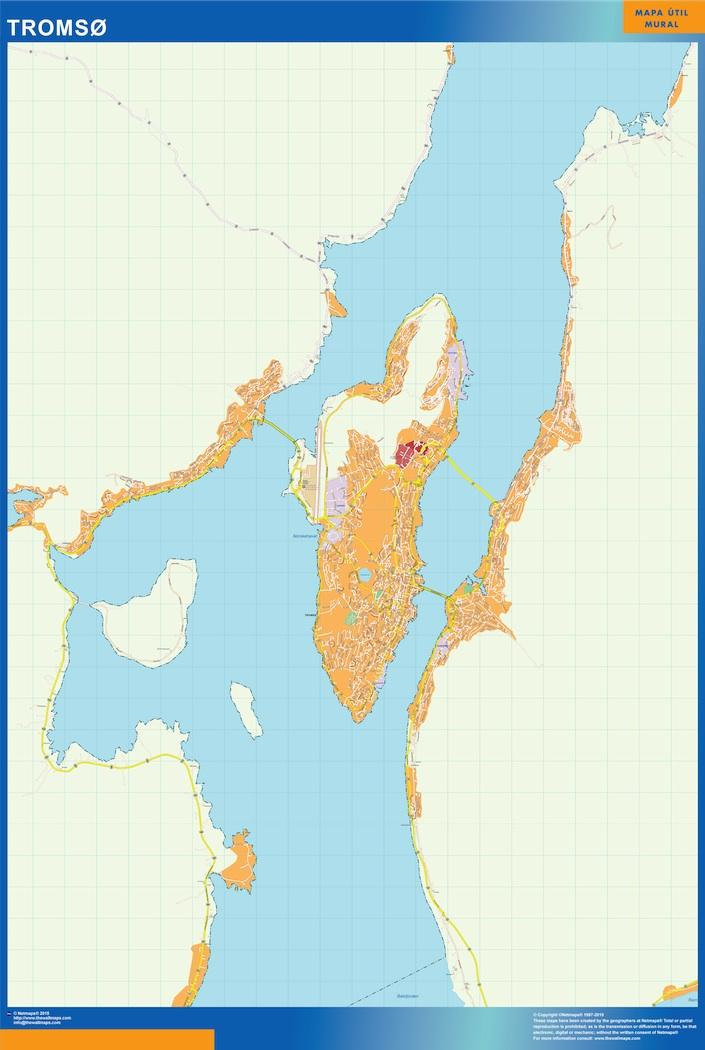 Mapa Tromso en Noruega plastificado gigante