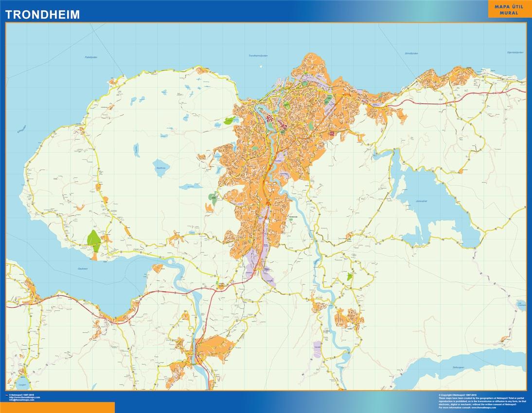 Mapa Trondheim en Noruega plastificado gigante