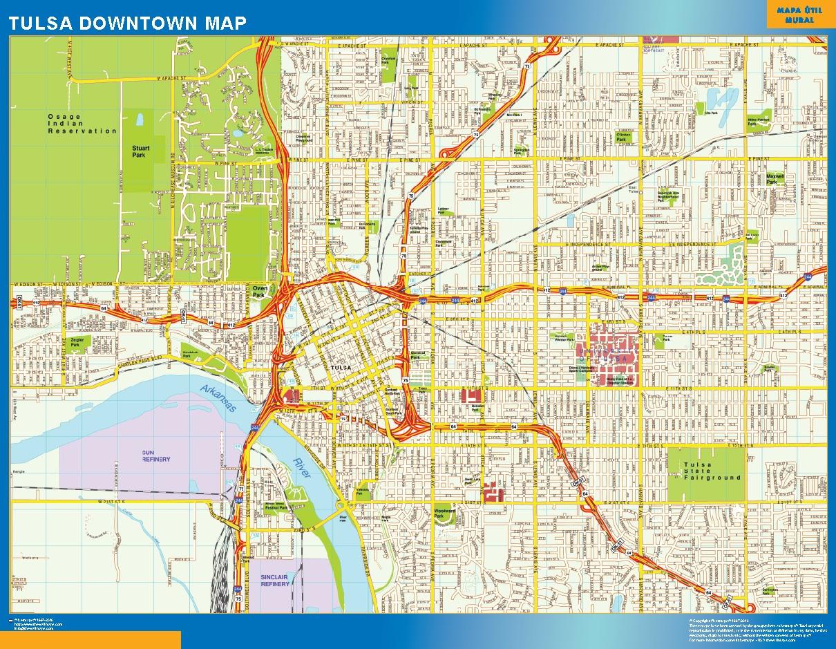 Mapa Tulsa downtown plastificado gigante