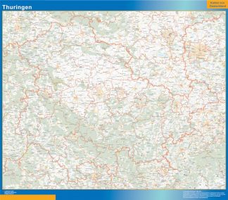 Mapa Turingia plastificado gigante