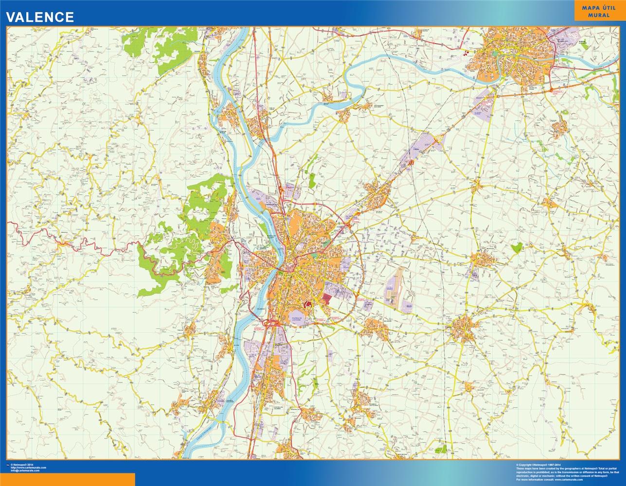 Mapa Valence en Francia plastificado gigante