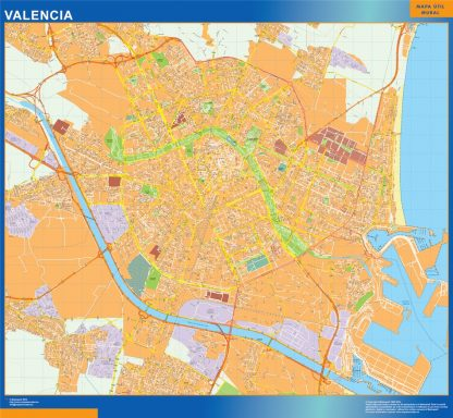 Mapa Valencia callejero plastificado gigante