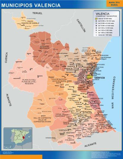 Mapa Valencia por municipios plastificado gigante