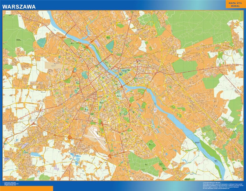 Mapa Varsovia Polonia plastificado gigante