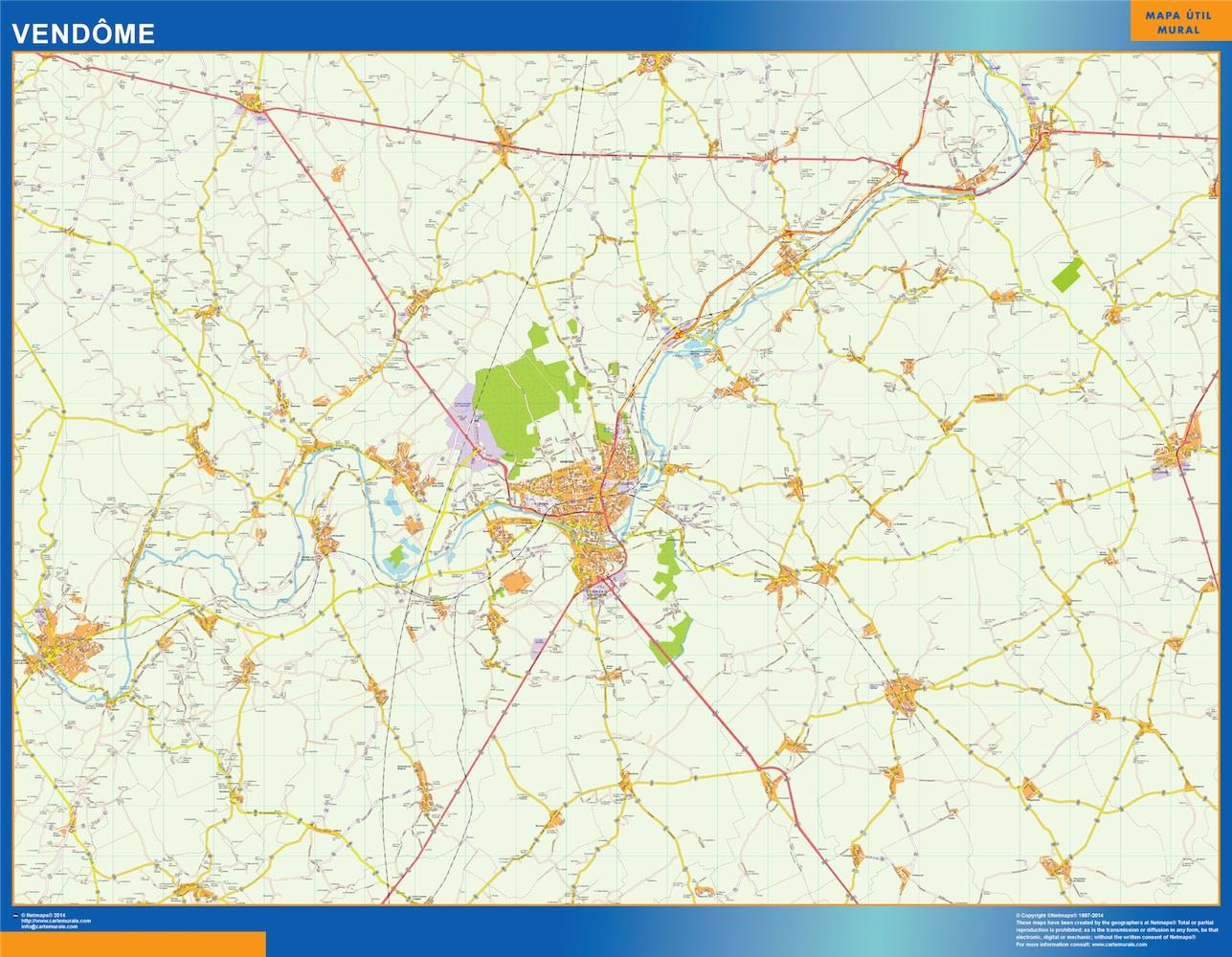 Mapa Vendome en Francia plastificado gigante