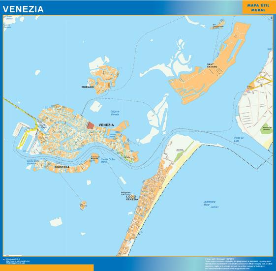 Mapa Venezia plastificado gigante