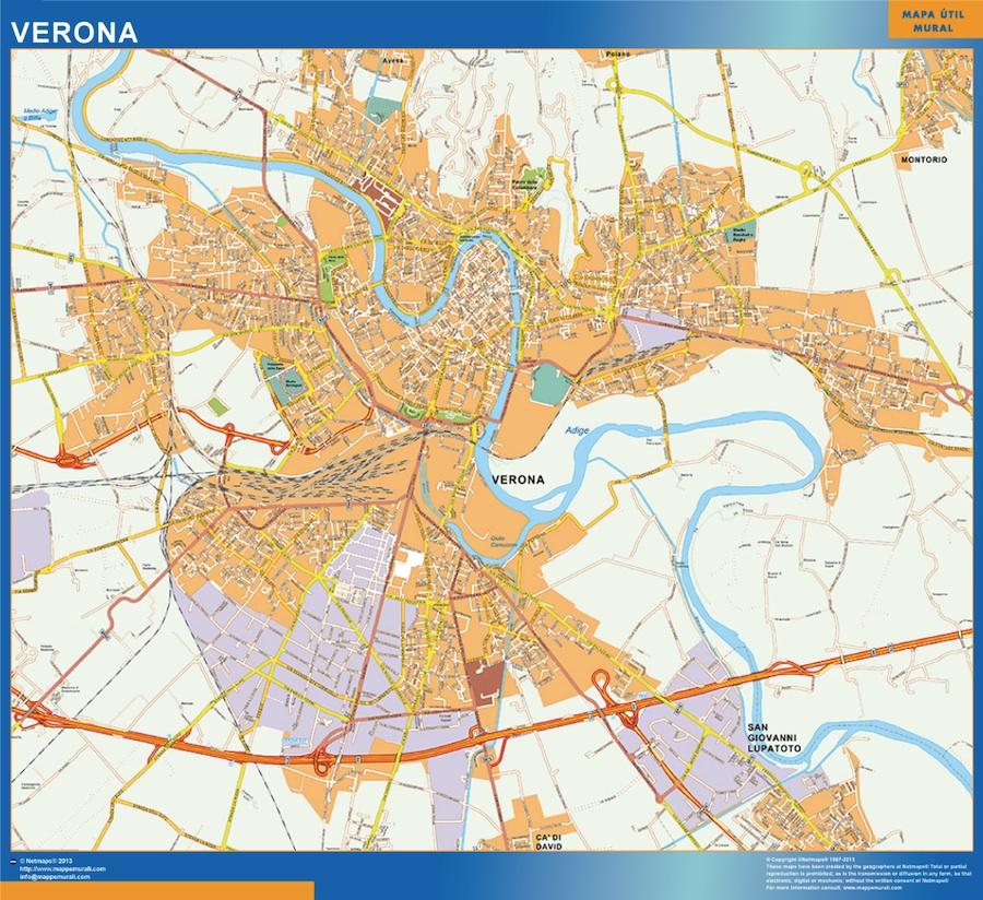 Mapa Verona plastificado gigante