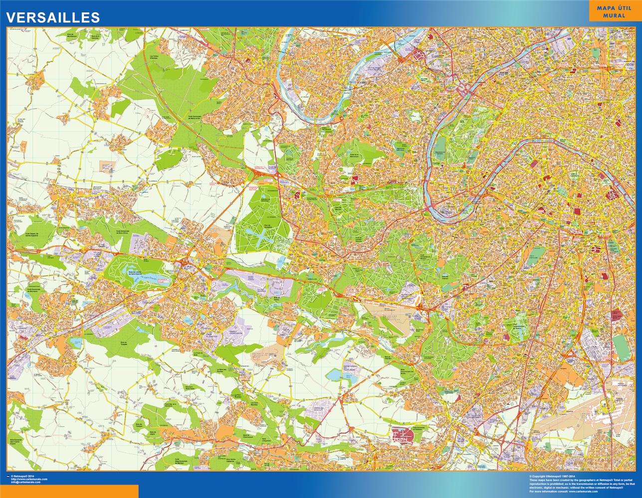 Mapa Versailles en Francia plastificado gigante