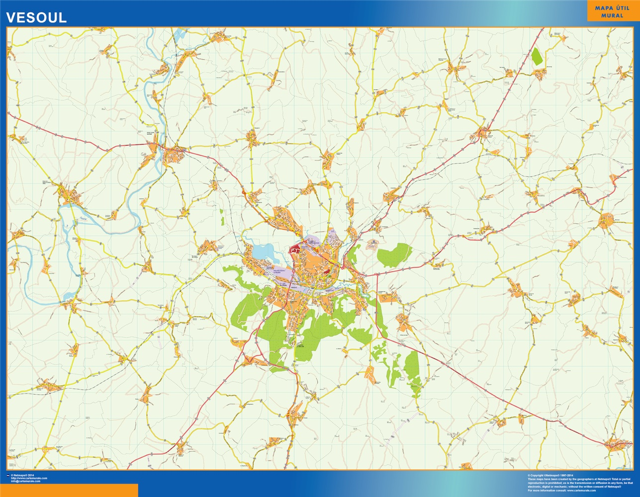 Mapa Vesoul en Francia plastificado gigante