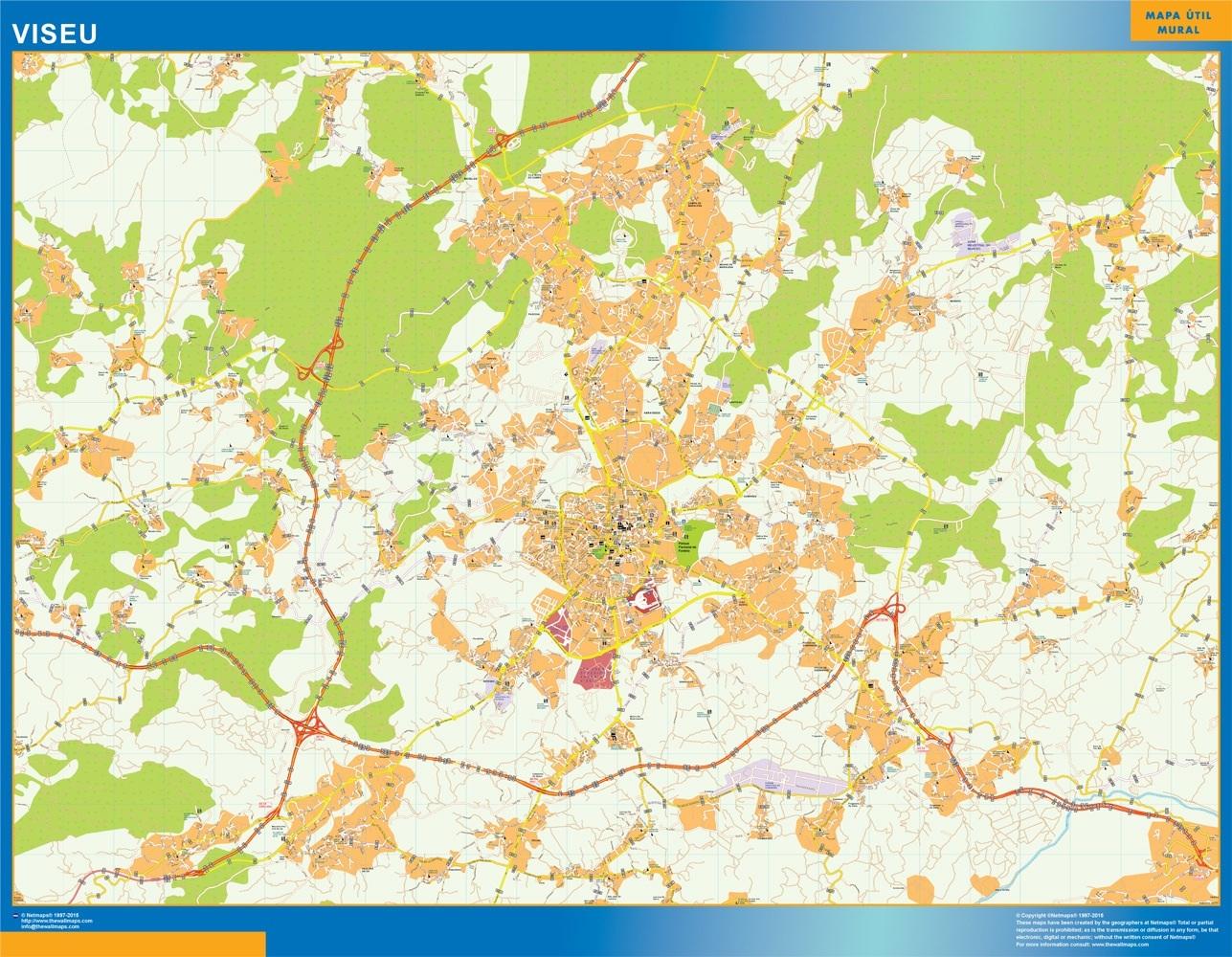 Mapa Viseu en Portugal plastificado gigante