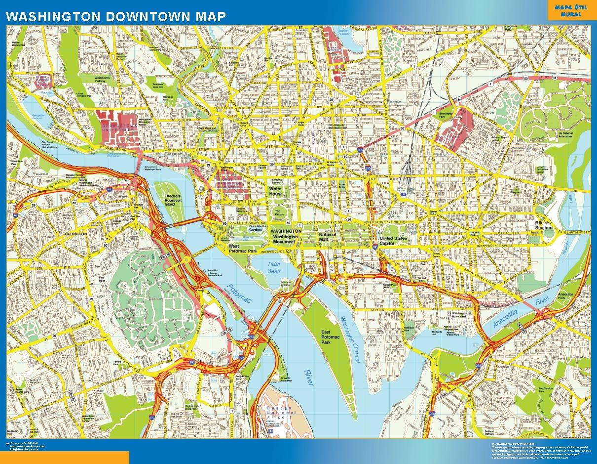 Mapa Washington downtown plastificado gigante
