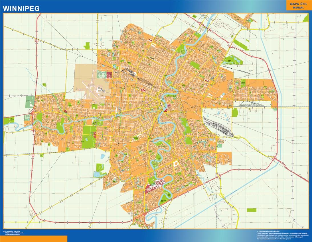 Mapa Winnipeg en Canada plastificado gigante