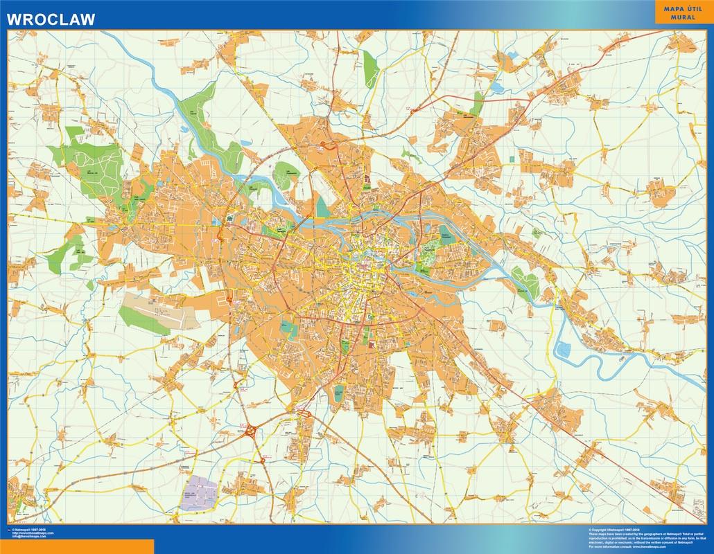 Mapa Wroclaw Polonia plastificado gigante