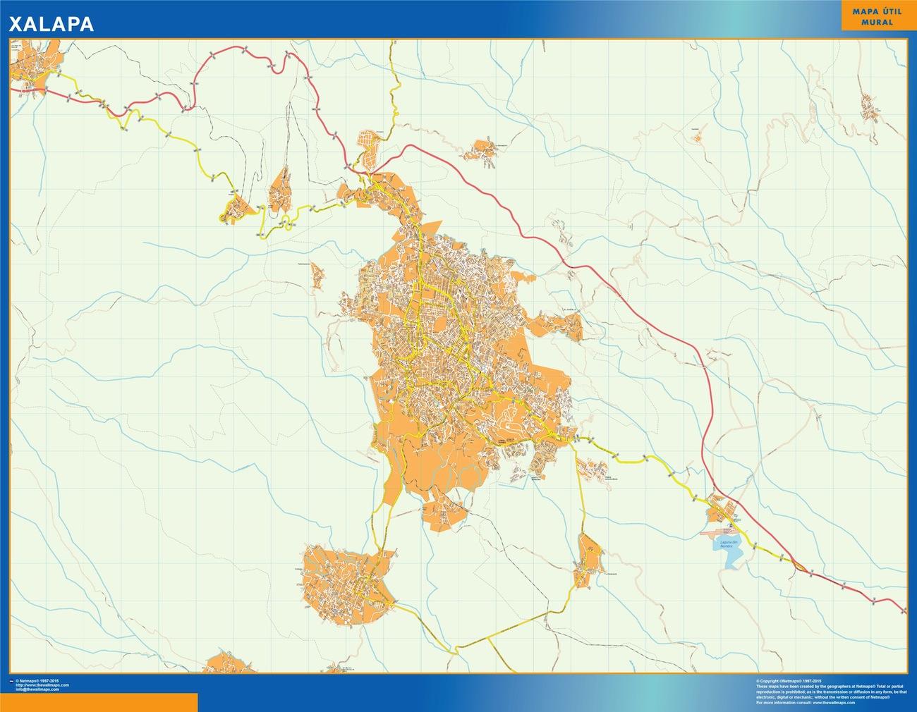 Mapa Xalapa en Mexico plastificado gigante