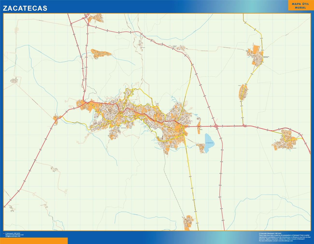 Mapa Zacatecas en Mexico plastificado gigante
