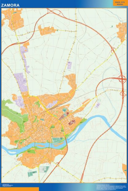 Mapa Zamora callejero plastificado gigante