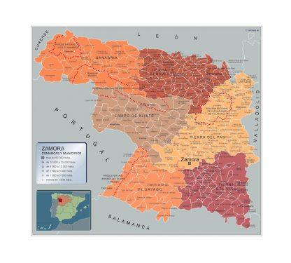 Mapa Zamora por municipios plastificado gigante