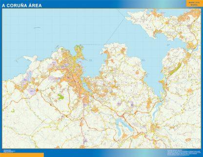 Mapa carreteras A Coruna Area plastificado gigante