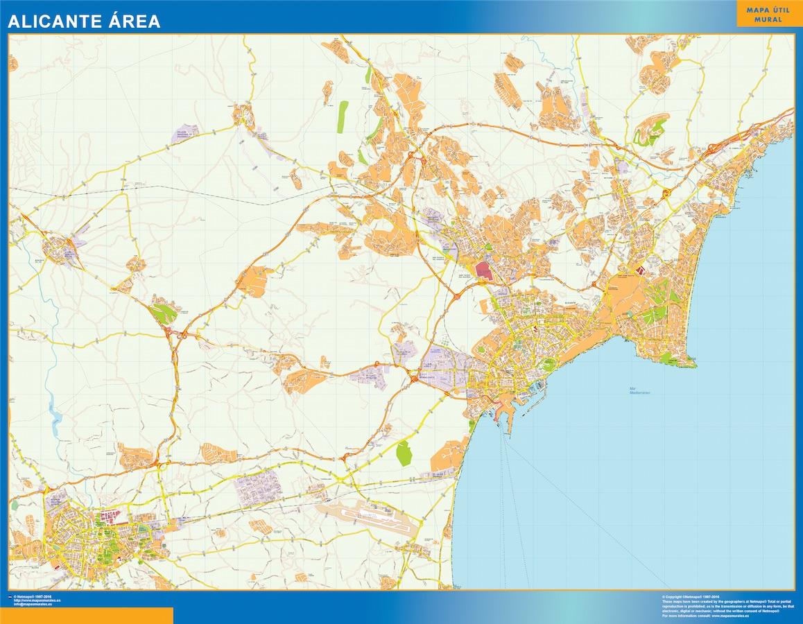 Mapa carreteras Alicante Area plastificado gigante