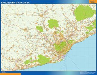 Mapa carreteras Barcelona Gran Area plastificado gigante