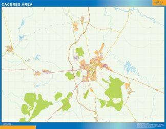 Mapa carreteras Caceres Area plastificado gigante