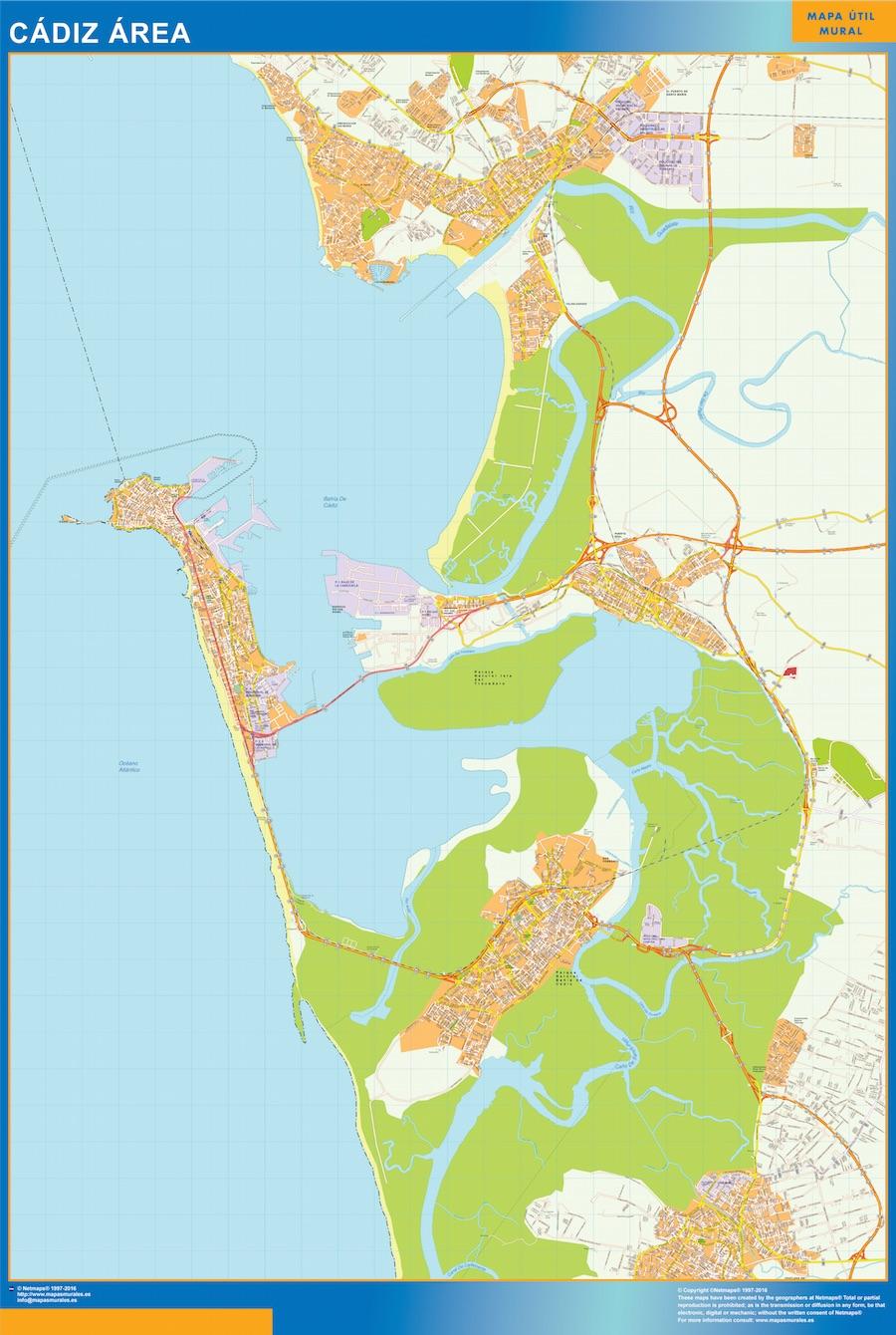 Mapa carreteras Cadiz Area plastificado gigante