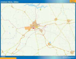 Mapa carreteras Ciudad Real Area plastificado gigante
