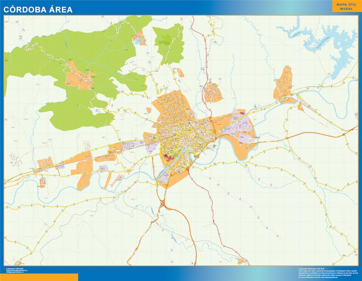 Mapa carreteras Cordoba Area plastificado gigante