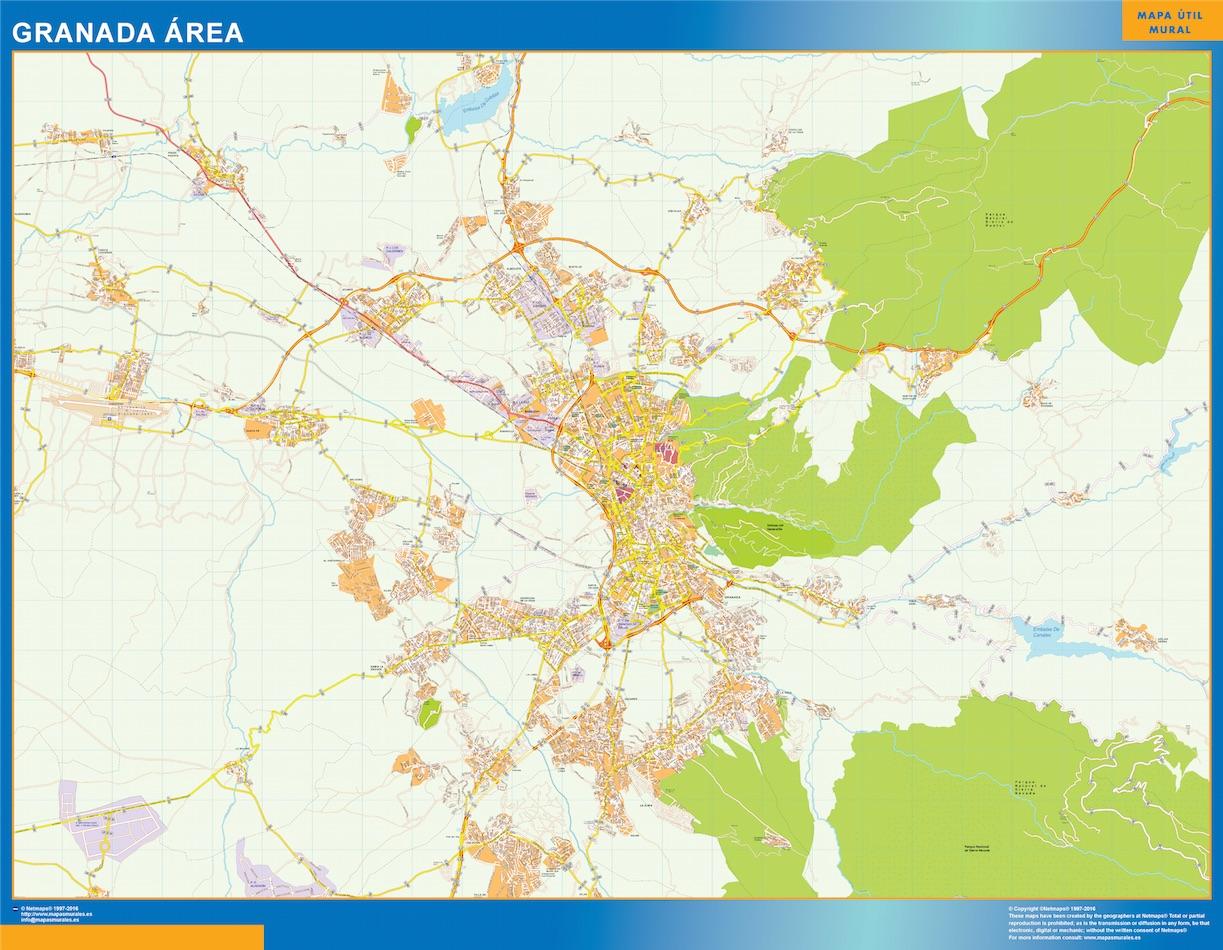 Mapa carreteras Granada Area plastificado gigante