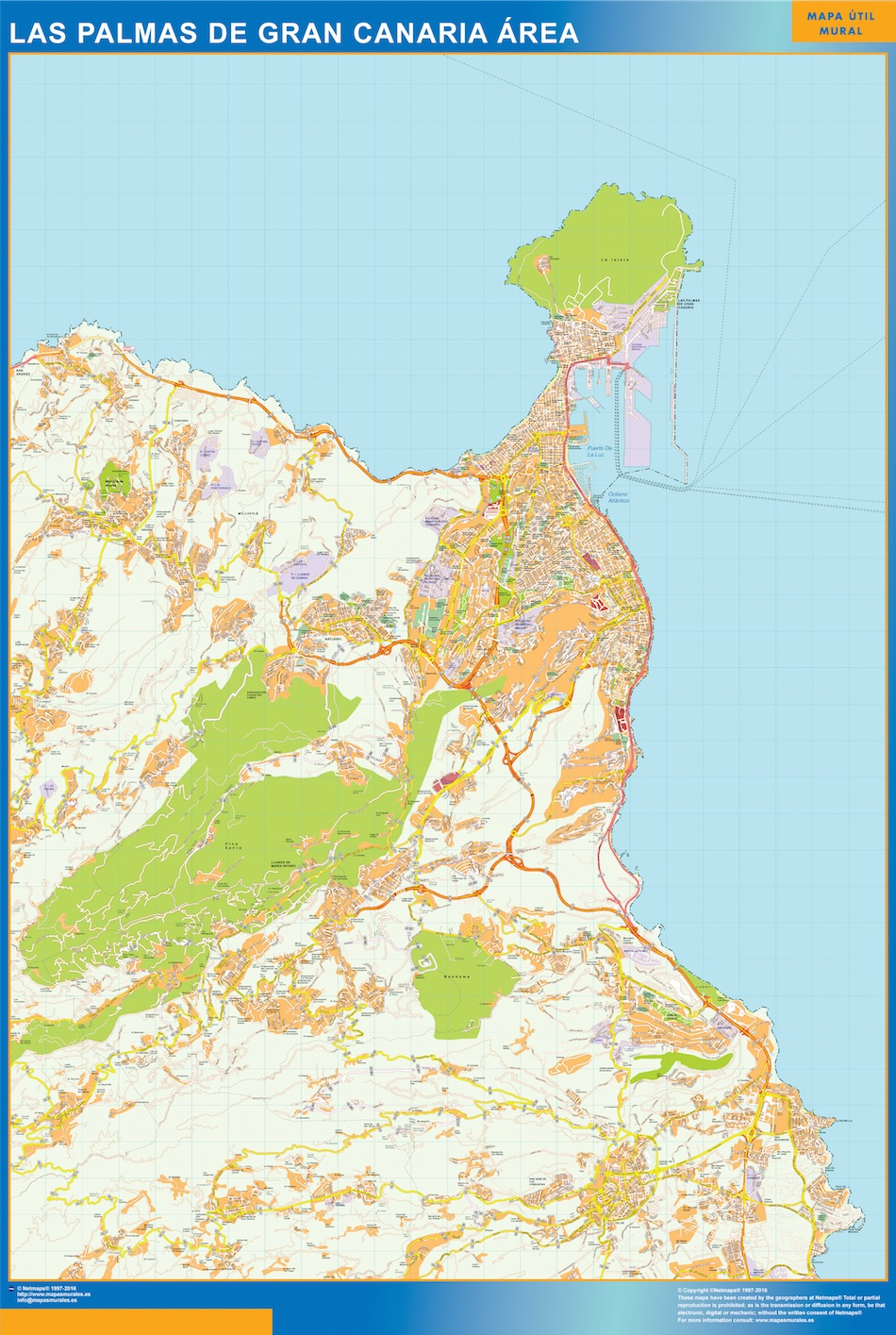 Mapa carreteras Las Palmas Gran Canaria Area plastificado gigante
