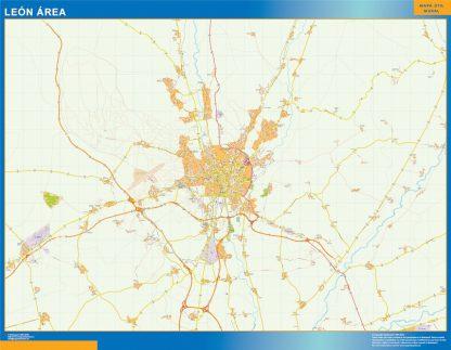 Mapa carreteras Leon Area plastificado gigante