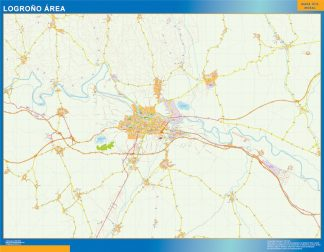 Mapa carreteras Logrono Area plastificado gigante