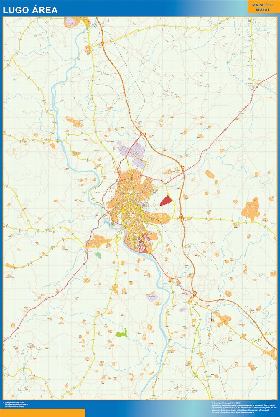Mapa carreteras Lugo Area plastificado gigante