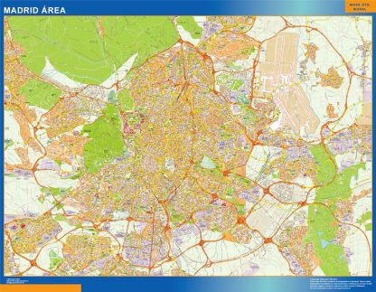 Mapa carreteras Madrid Area plastificado gigante