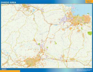 Mapa carreteras Oviedo Area plastificado gigante