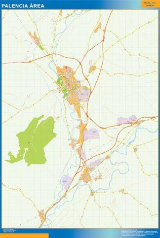 Mapa carreteras Palencia Area plastificado gigante