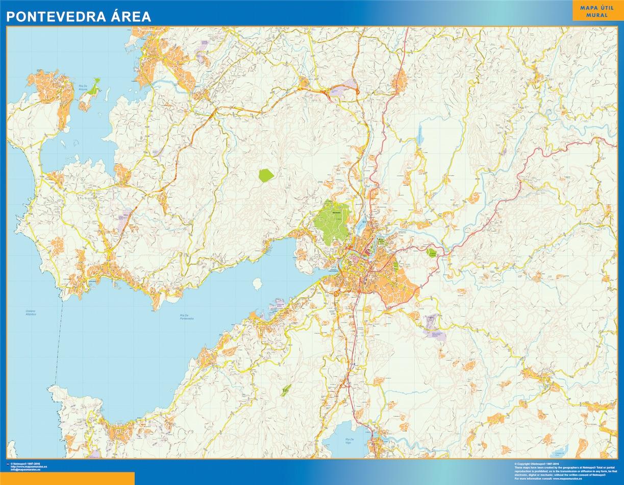 Mapa carreteras Pontevedra Area plastificado gigante