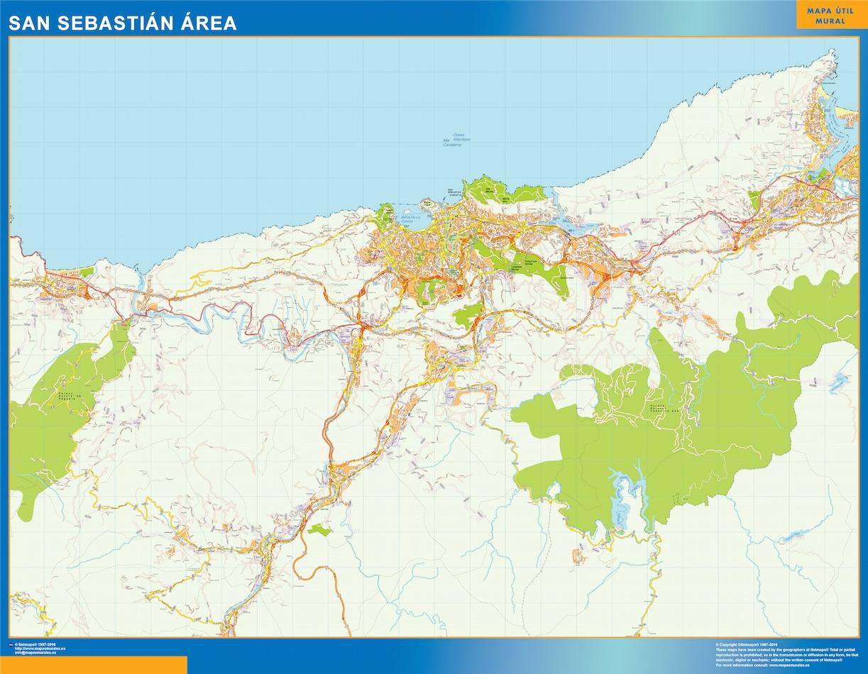 Mapa carreteras San Sebastian Area plastificado gigante