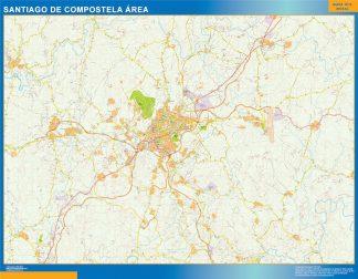 Mapa carreteras Santiago Compostela Area plastificado gigante
