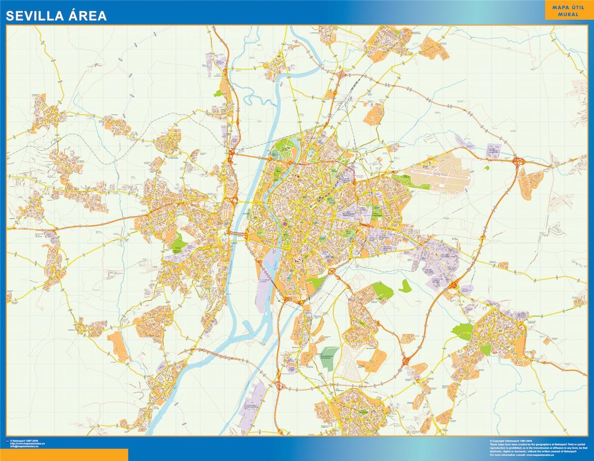 Mapa carreteras Sevilla Area plastificado gigante