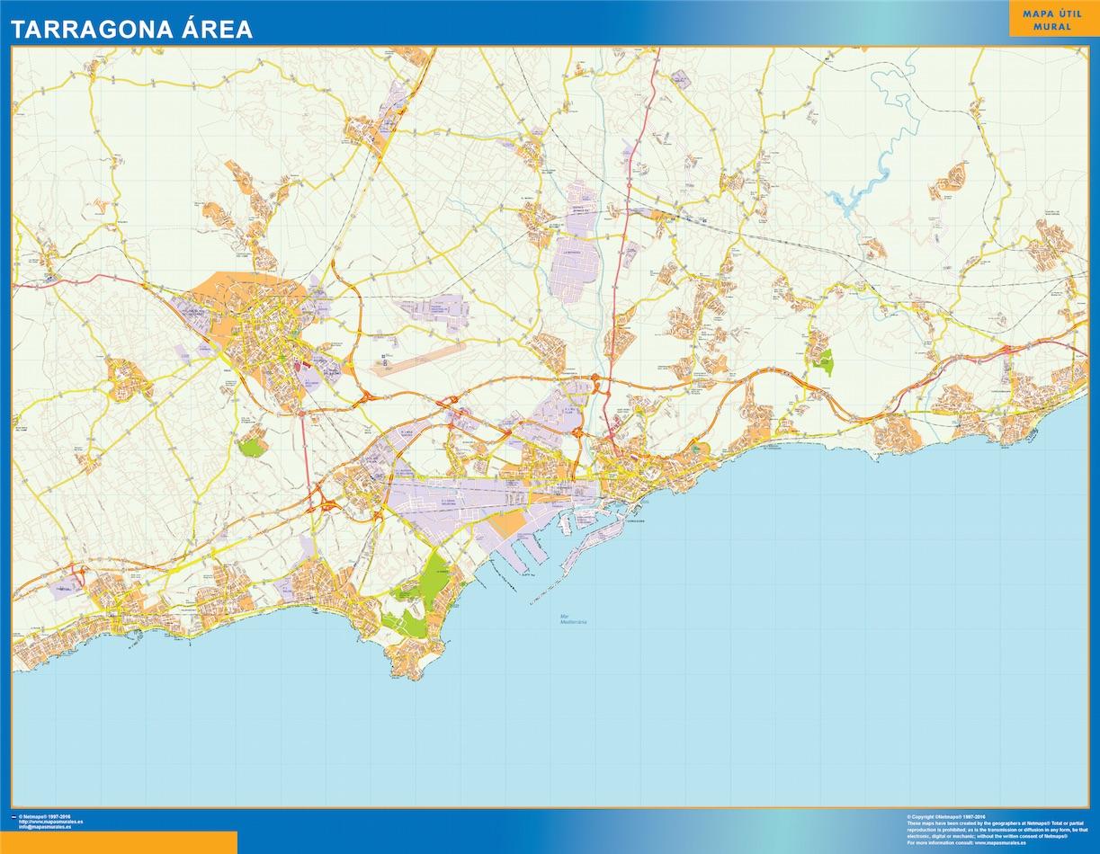 Mapa carreteras Tarragona Area plastificado gigante