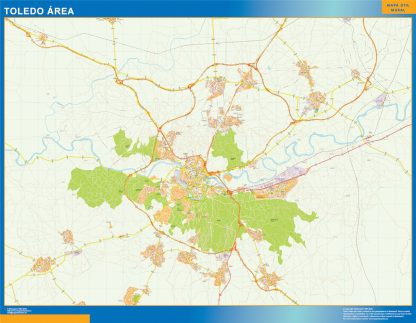 Mapa carreteras Toledo Area plastificado gigante