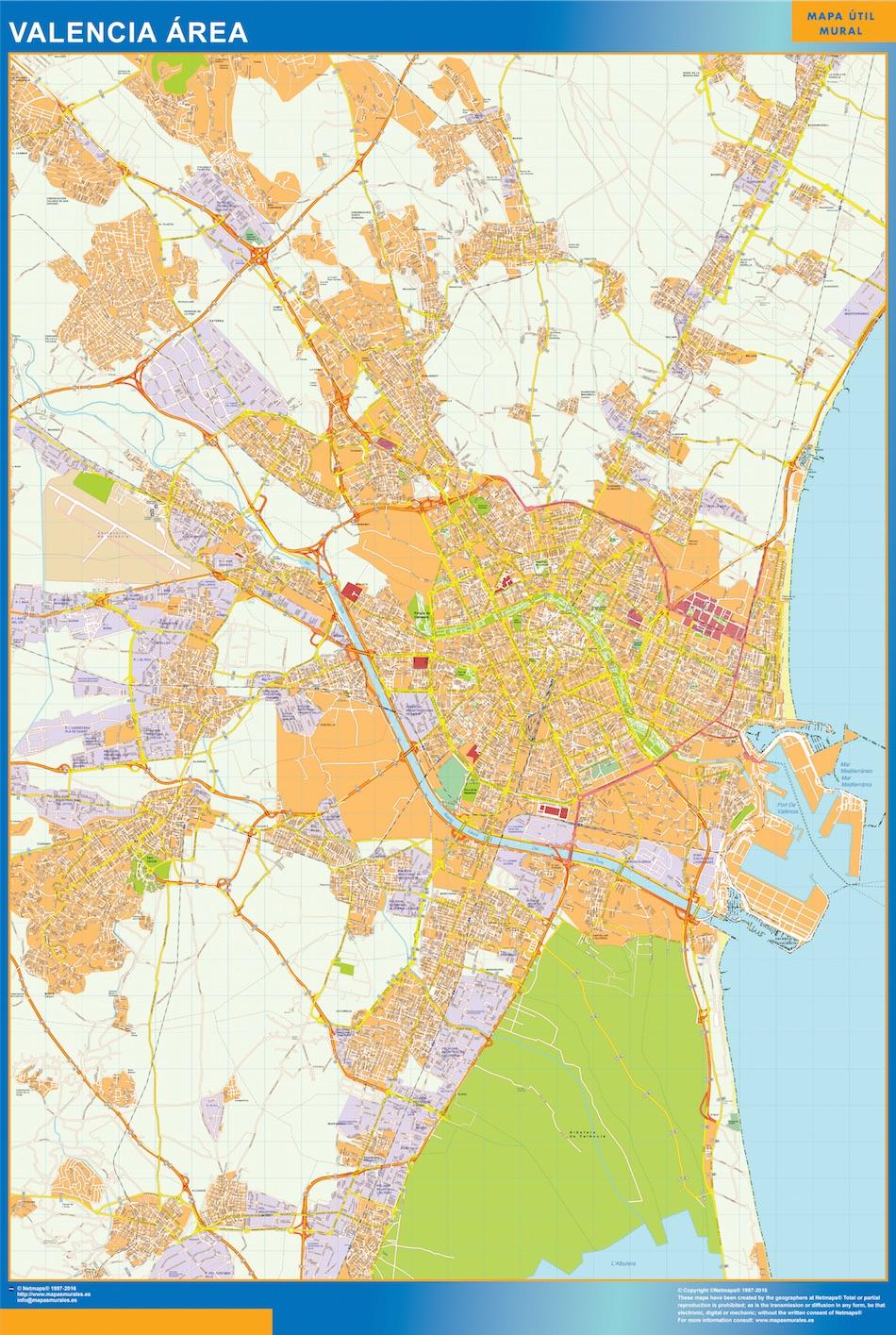 Mapa carreteras Valencia Area plastificado gigante