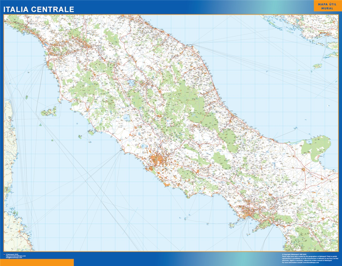 Mapa centro Italia carreteras plastificado gigante
