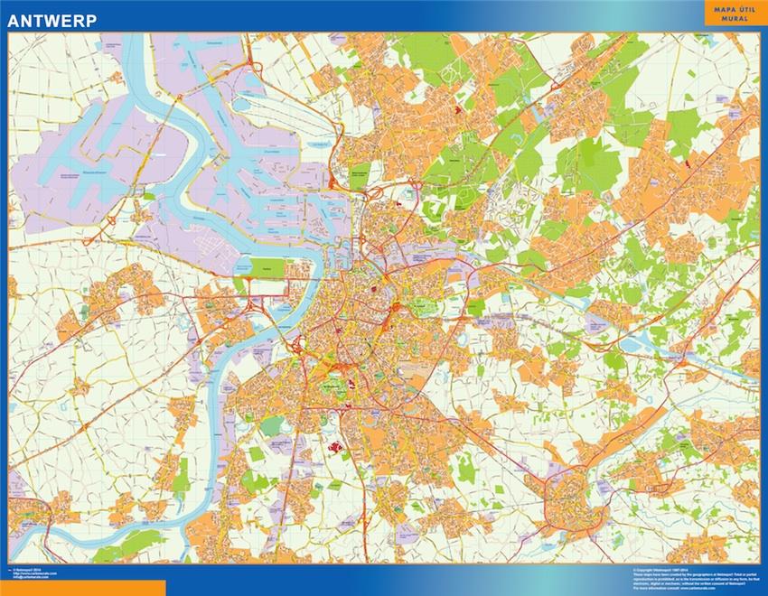Mapa de Amberes en Bélgica plastificado gigante