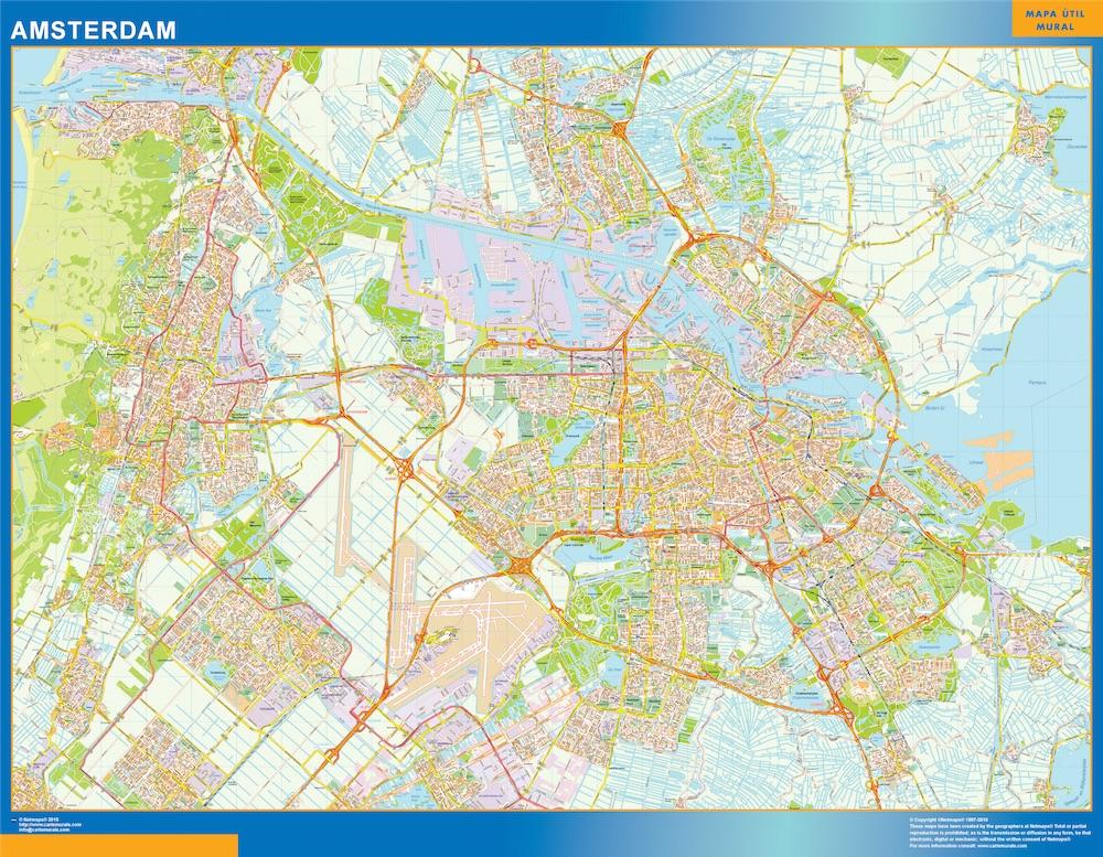 Mapa de Amsterdam plastificado gigante