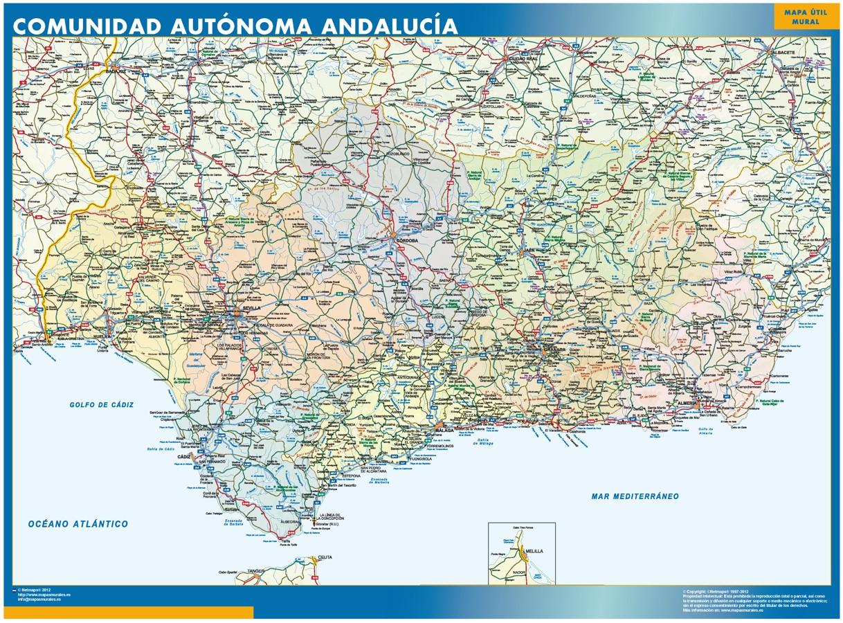 Mapa de Andalucia plastificado gigante