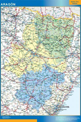 Mapa de Aragon plastificado gigante
