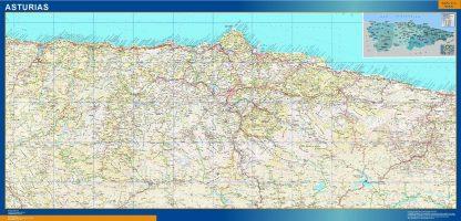 Mapa de Asturias relieve plastificado gigante
