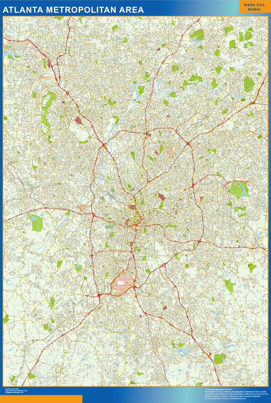 Mapa de Atlanta plastificado gigante
